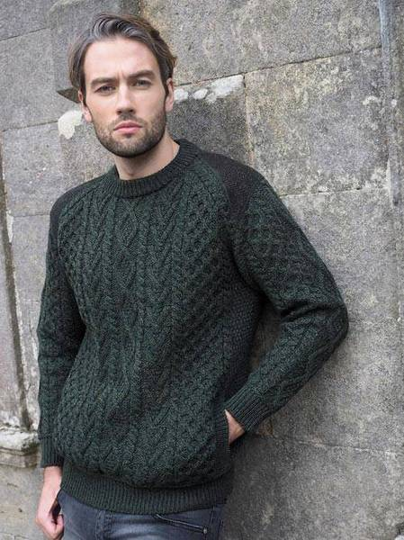 Cabled Crew Neck with Tweed Details -    T24 Army Green