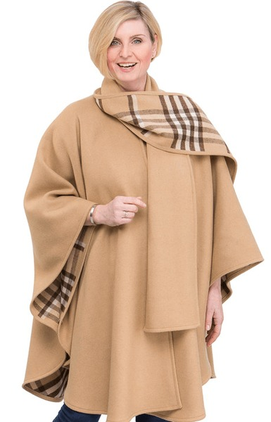 Wool & Cashmere Camel Cape with Plaid Scarf