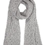 Aran Knit Scarf - Light Grey