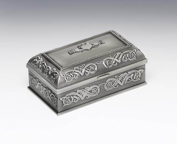 Pewter Claddagh Jewellery Box - Medium