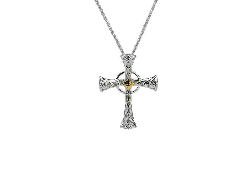 Celtic Cross Pendant -  Sterling Silver & 10K Gold