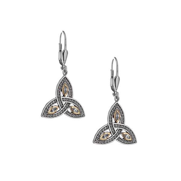 Trinity Earrings - Sterling Silver/10k Yellow Gold -PEX6621