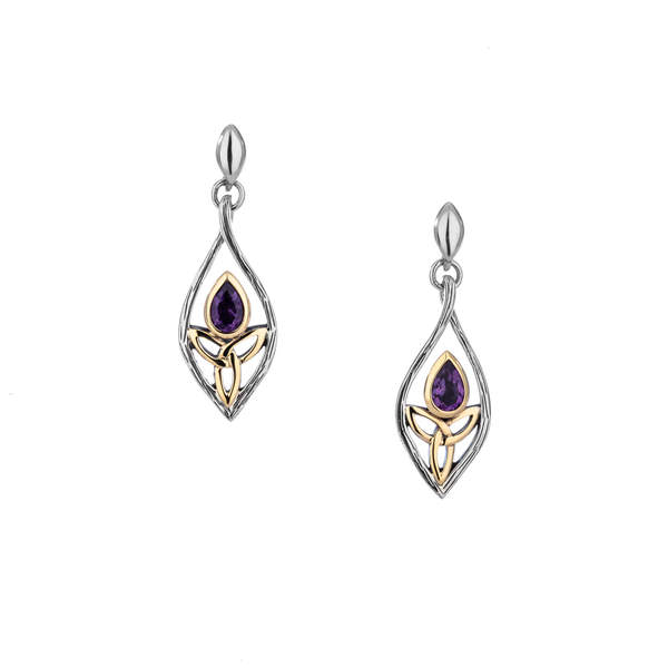Teardrop Guardian Angel Earrings with Amethyst