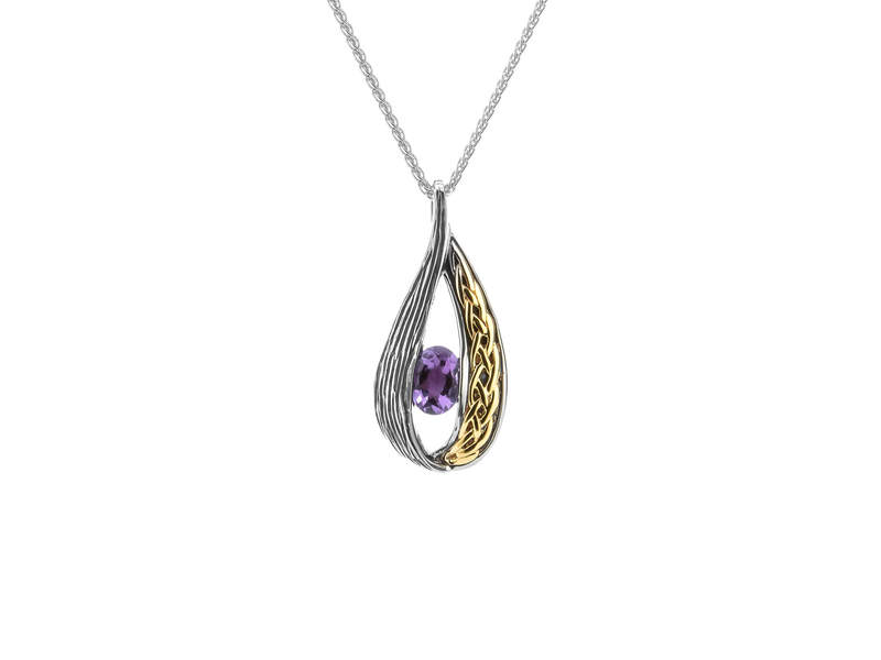 Silver, 10K, and Amethyst Drop Pendant
