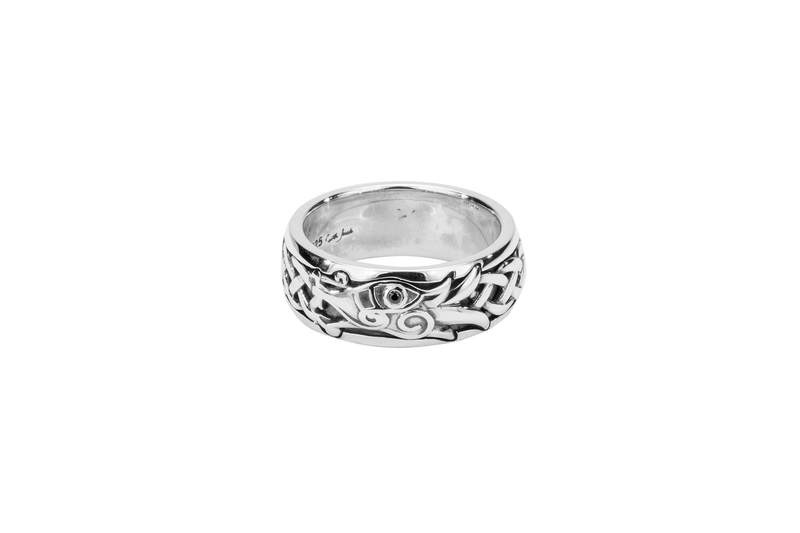 Silver Dragon Ring with Black Cubic Zirconia