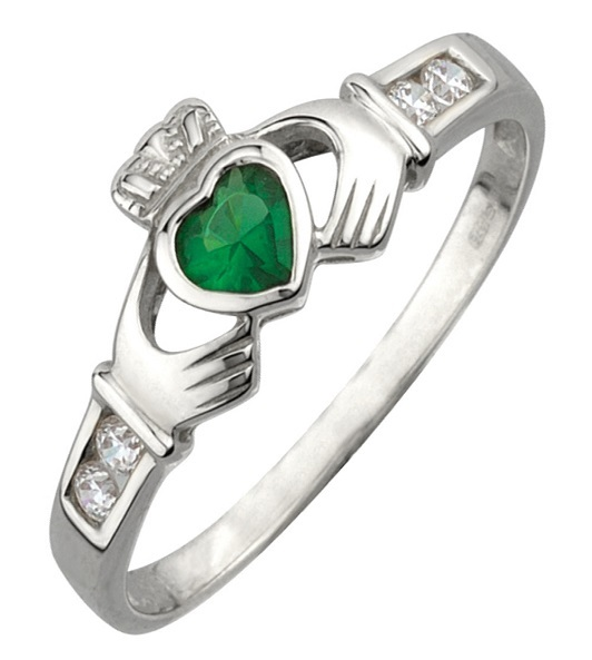 Sterling Silver Claddagh Ring - Synthetic Emerald & Cubic Zirconia