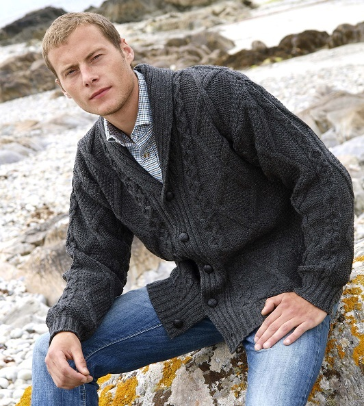 Aran Shawl Neck Button Cardigan  (4139)
