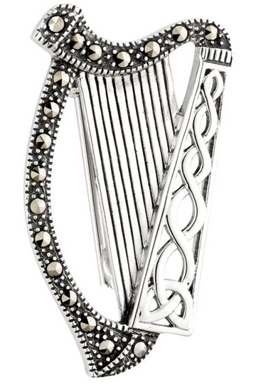 Harp Brooch - Marcasite & Sterling Silver