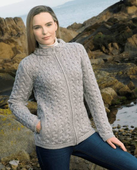 Munster Cable Knit Cardigan -  Soft Grey (5038)
