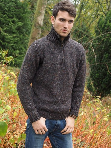 Donegal Wool Half Zip Pullover: Z2040
